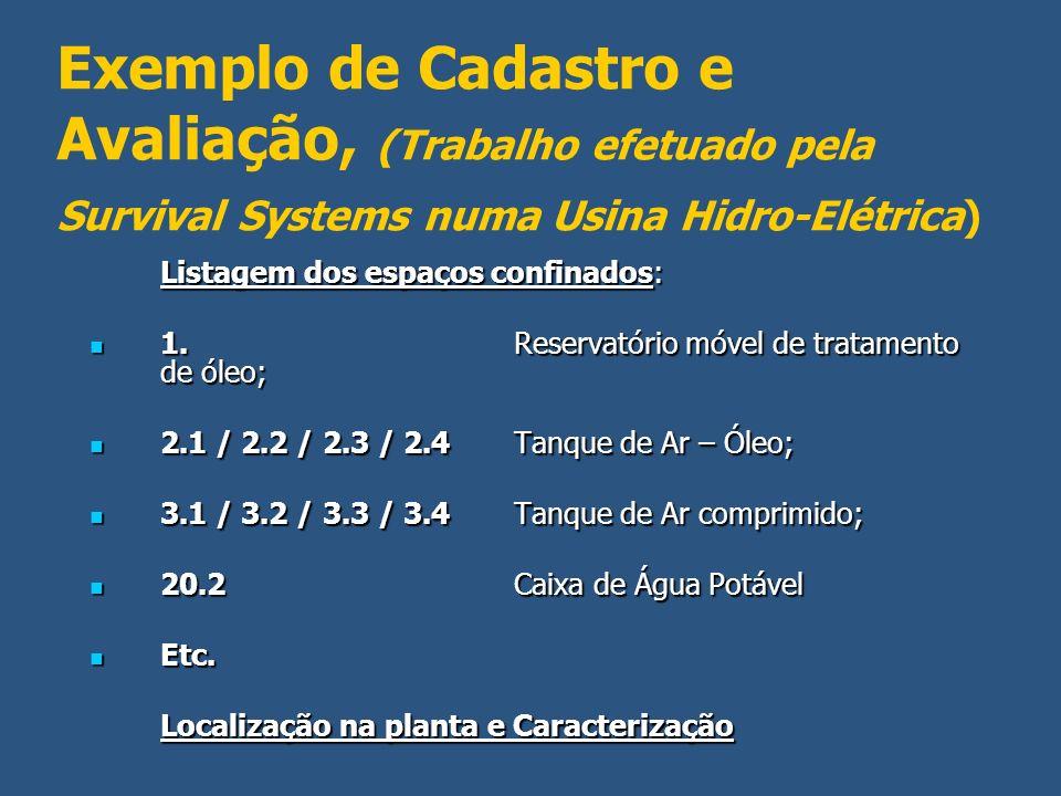 Exemplo de Cadastro e Avaliação, (Trabalho efetuado pela Survival Systems numa Usina Hidro-Elétrica) Listagem dos espaços confinados: 1. Reservatório