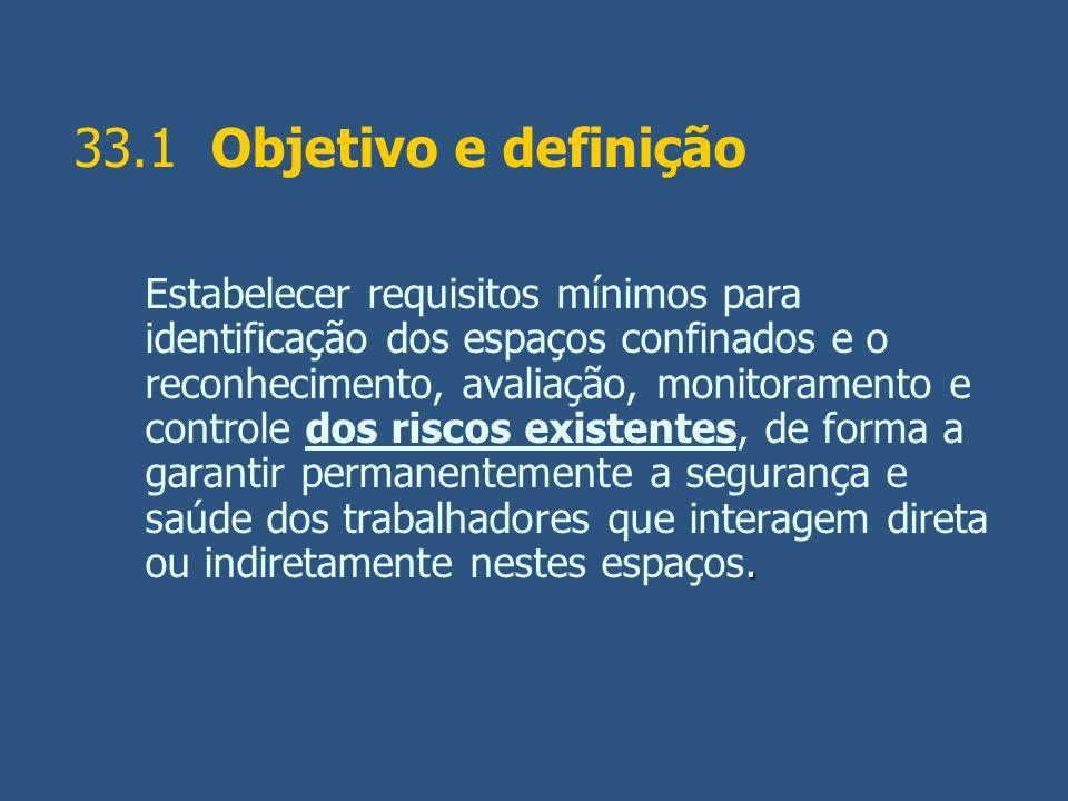 33.1 Objetivo e definição. Estabelecer requisitos mínimos para identificação dos espaços confinados e o reconhecimento, avaliação, monitoramento e con