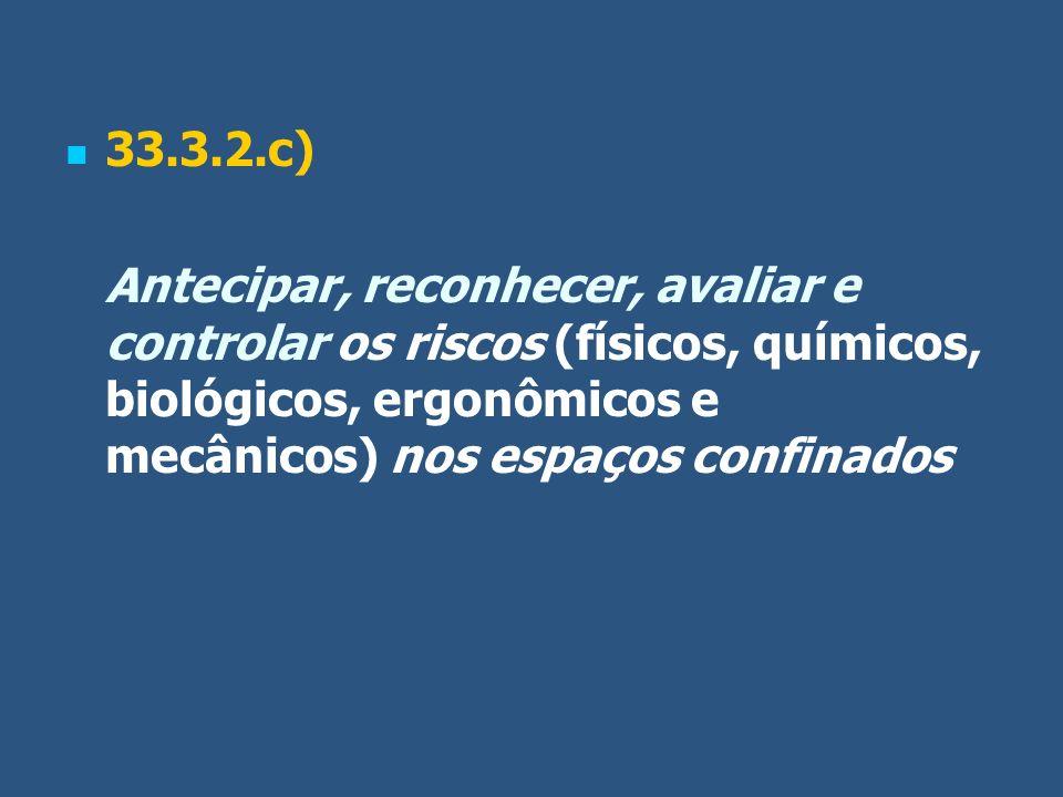 33.3.2.c) Antecipar, reconhecer, avaliar e controlar os riscos (físicos, químicos, biológicos, ergonômicos e mecânicos) nos espaços confinados