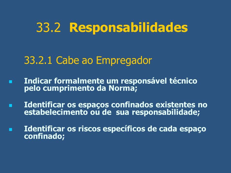 33.2 Responsabilidades 33.2.1 Cabe ao Empregador Indicar formalmente um responsável técnico pelo cumprimento da Norma; Identificar os espaços confinad