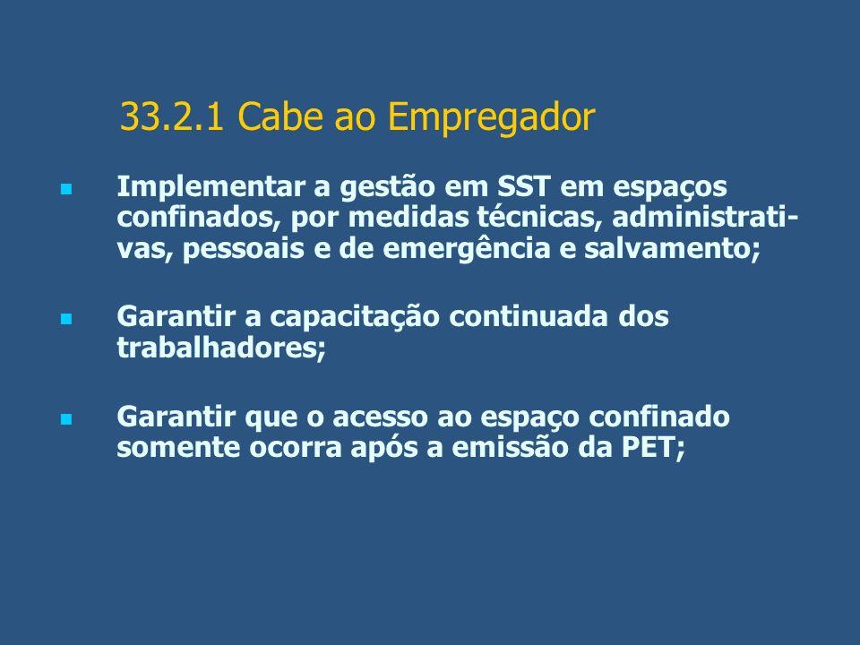 33.2.1 Cabe ao Empregador Implementar a gestão em SST em espaços confinados, por medidas técnicas, administrati- vas, pessoais e de emergência e salva