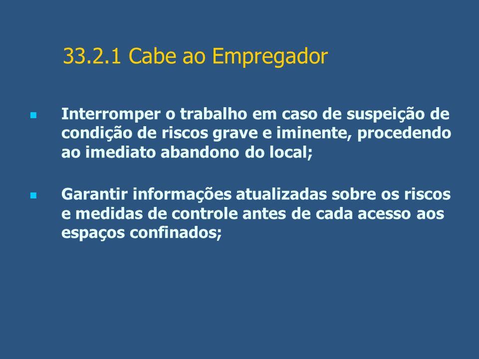 33.2.1 Cabe ao Empregador Interromper o trabalho em caso de suspeição de condição de riscos grave e iminente, procedendo ao imediato abandono do local