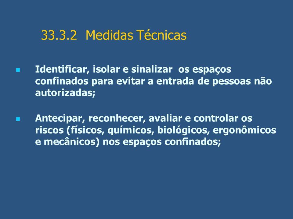 33.3.2 Medidas Técnicas Identificar, isolar e sinalizar os espaços confinados para evitar a entrada de pessoas não autorizadas; Antecipar, reconhecer,