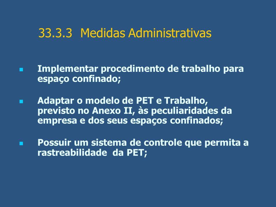 33.3.3 Medidas Administrativas Implementar procedimento de trabalho para espaço confinado; Adaptar o modelo de PET e Trabalho, previsto no Anexo II, à