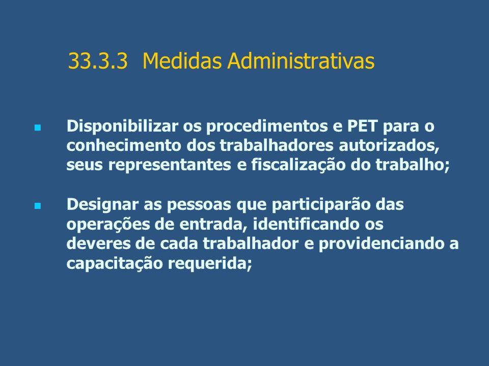 33.3.3 Medidas Administrativas Disponibilizar os procedimentos e PET para o conhecimento dos trabalhadores autorizados, seus representantes e fiscaliz