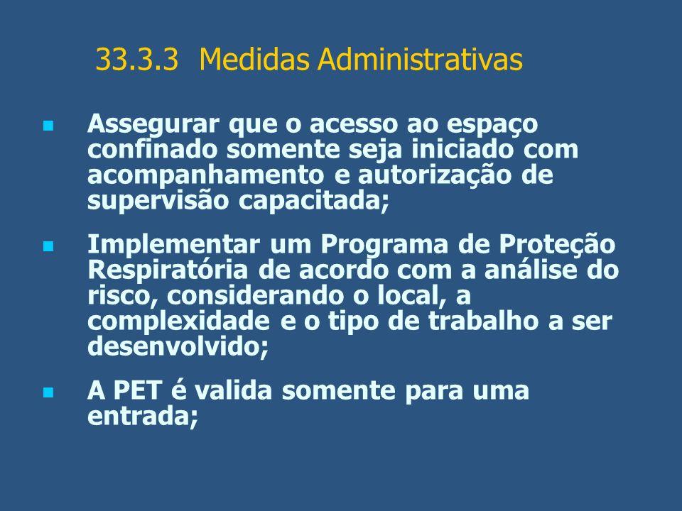 33.3.3 Medidas Administrativas Assegurar que o acesso ao espaço confinado somente seja iniciado com acompanhamento e autorização de supervisão capacit