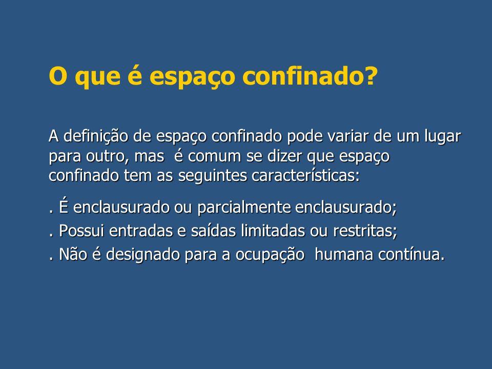 Normativa Brasileira sobre Espaços Confinados: NR 18.20 (Condições de trabalho na construção civil) NR 18.20 (Condições de trabalho na construção civil) NBR 14.787/01: Espaço confinado – Prevenção de acidentes, procedimentos e medidadas de proteção.