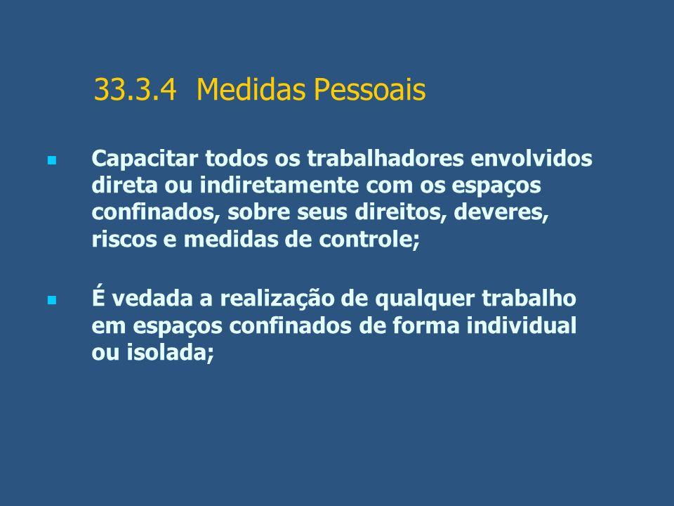 33.3.4 Medidas Pessoais Capacitar todos os trabalhadores envolvidos direta ou indiretamente com os espaços confinados, sobre seus direitos, deveres, r