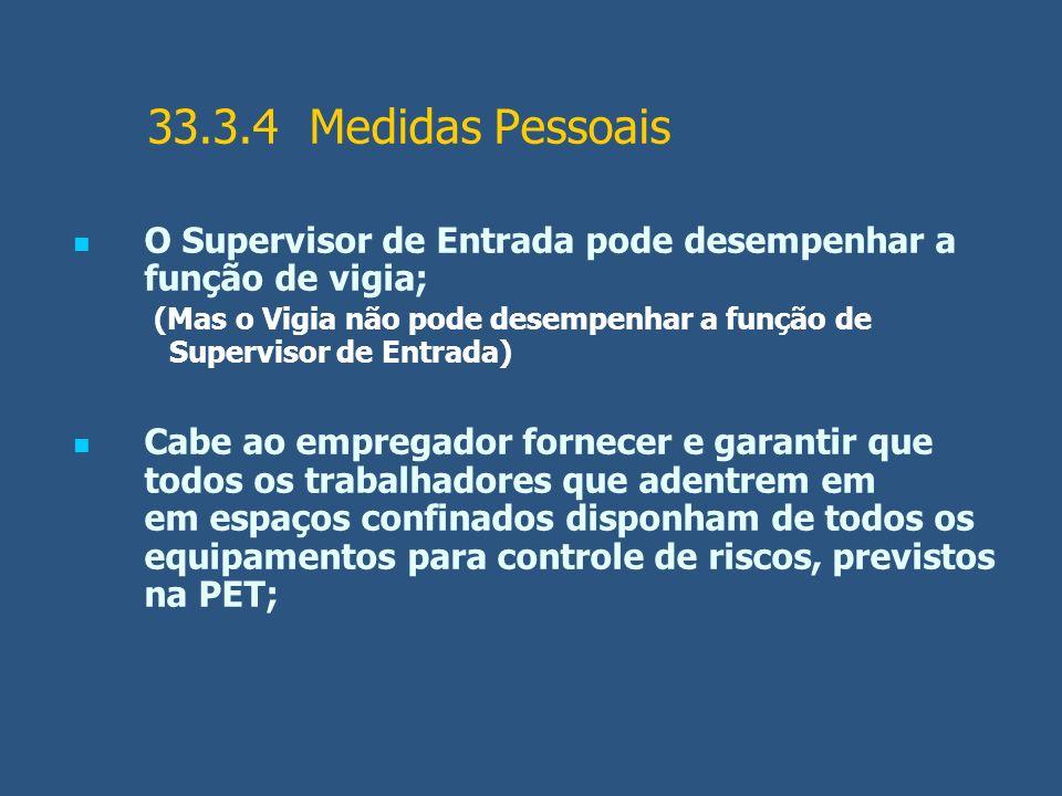 33.3.4 Medidas Pessoais O Supervisor de Entrada pode desempenhar a função de vigia; (Mas o Vigia não pode desempenhar a função de Supervisor de Entrad