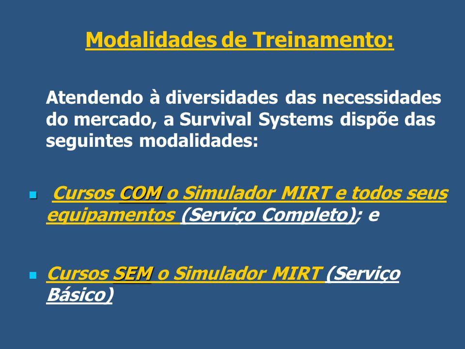 Modalidades de Treinamento: Atendendo à diversidades das necessidades do mercado, a Survival Systems dispõe das seguintes modalidades: COM Cursos COM