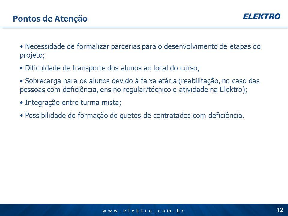 www.elektro.com.br 12 Necessidade de formalizar parcerias para o desenvolvimento de etapas do projeto; Dificuldade de transporte dos alunos ao local d