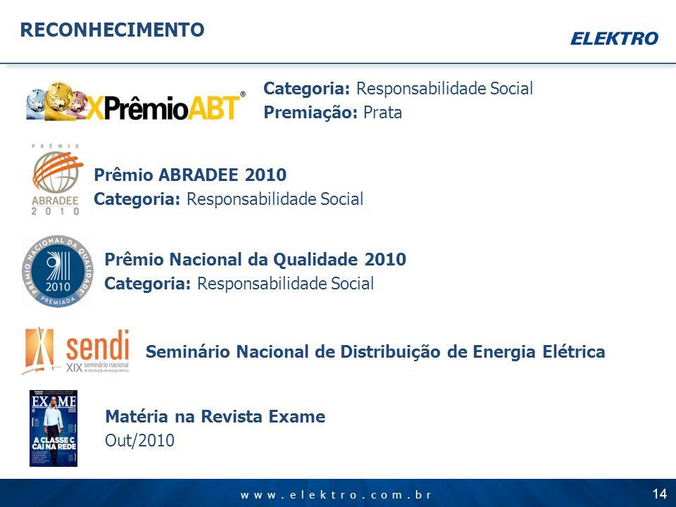 www.elektro.com.br RECONHECIMENTO Categoria: Responsabilidade Social Premiação: Prata Seminário Nacional de Distribuição de Energia Elétrica Prêmio AB