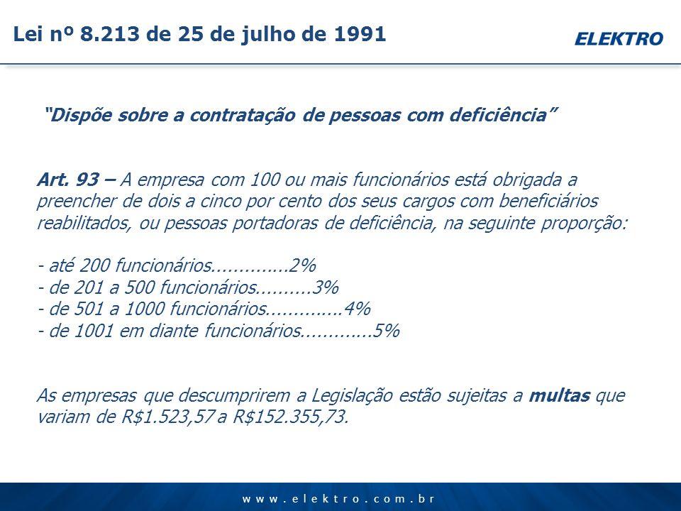 www.elektro.com.br Dispõe sobre a contratação de pessoas com deficiência Art. 93 – A empresa com 100 ou mais funcionários está obrigada a preencher de