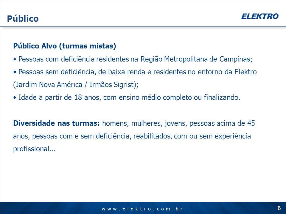 www.elektro.com.br Público Público Alvo (turmas mistas) Pessoas com deficiência residentes na Região Metropolitana de Campinas; Pessoas sem deficiênci
