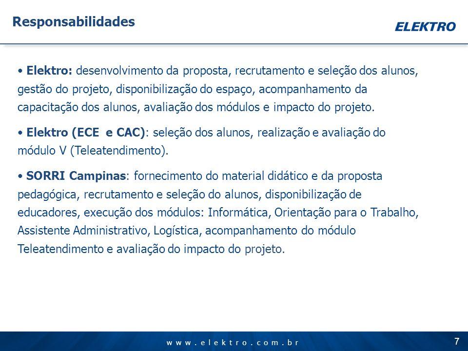www.elektro.com.br Elektro: desenvolvimento da proposta, recrutamento e seleção dos alunos, gestão do projeto, disponibilização do espaço, acompanhame