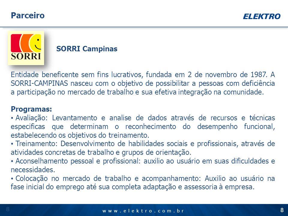 www.elektro.com.br SORRI Campinas Entidade beneficente sem fins lucrativos, fundada em 2 de novembro de 1987. A SORRI-CAMPINAS nasceu com o objetivo d