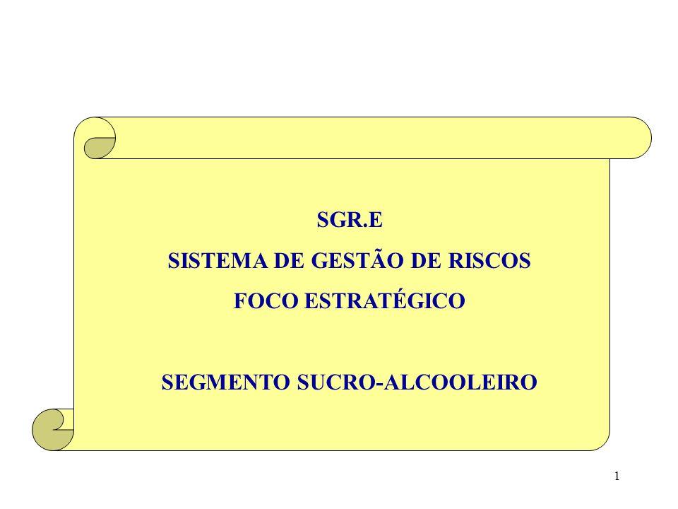 61 (5) SGR.E PARA O SEGMENTO SUCRO-ALCOOLEIRO (5.3) Saídas do processo Produtividade Produtividade = P = Pr / Fp Pr = Produção Fp = Fator de Produção SGR.E – SISTEMA DE GESTÃO DE RISCOS / FOCO ESTRATÉGICO SEGMENTO SUCRO-ALCOOLEIRO