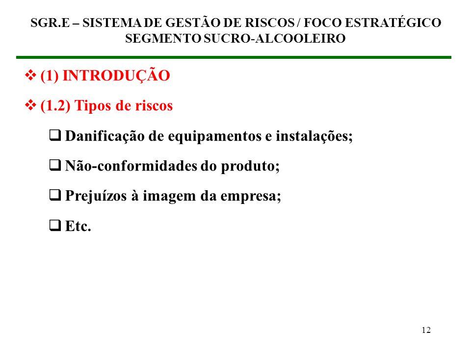 11 (1) INTRODUÇÃO (1.2) Tipos de riscos Lesões e doenças ocupacionais Poluição ambiental Explosões Quedas Batidas contra / por Paradas de produção SGR