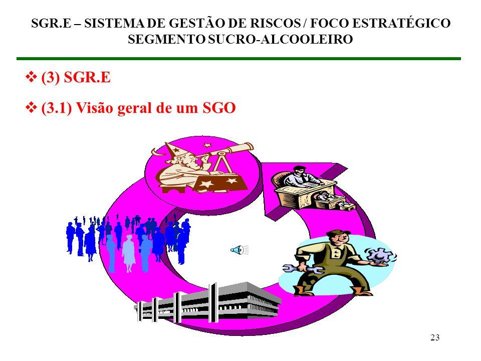 22 (3) SGR.E – SISTEMA DE GESTÃO DE RISCOS / FOCO ESTRATÉGICO (3.1) Visão geral de um SGO – Sistema de Gestão Organizacional SGR.E – SISTEMA DE GESTÃO