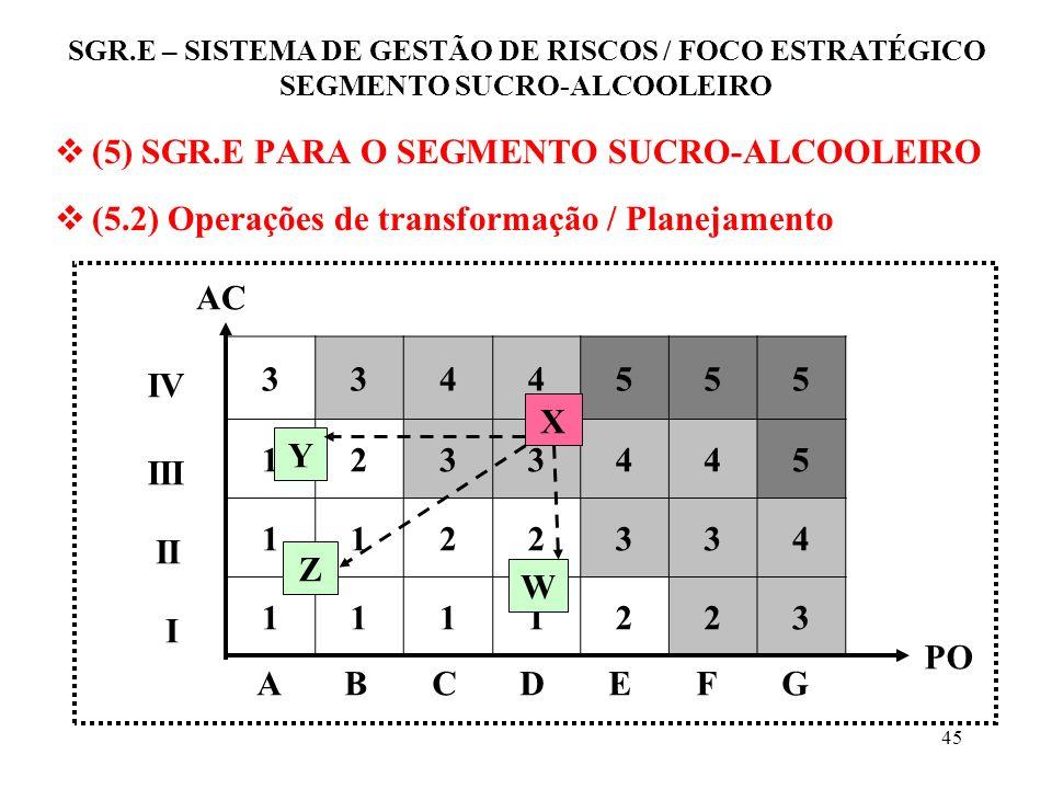 44 (5) SGR.E PARA O SEGMENTO SUCRO-ALCOOLEIRO (5.2) Operações de transformação Planejamento das ações Planejamento das ações para transformar cada ris