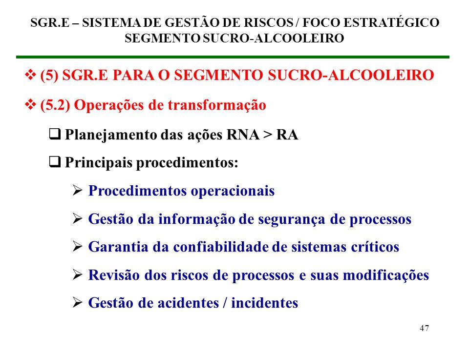 46 (5) SGR.E PARA O SEGMENTO SUCRO-ALCOOLEIRO (5.2) Operações de transformação Planejamento das ações RNA > RA Natureza das ações: Estratégicas Gestão