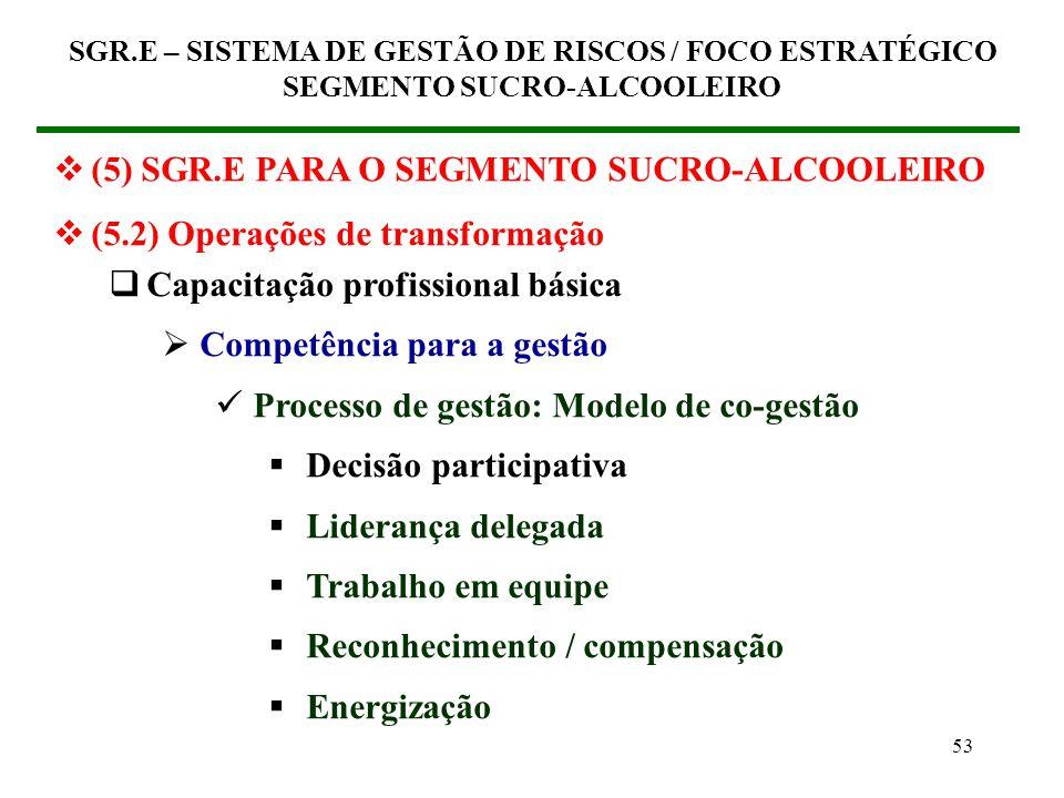 52 (5) SGR.E PARA O SEGMENTO SUCRO-ALCOOLEIRO (5.2) Operações de transformação Capacitação profissional básica Competência para a gestão Sensibilizaçã