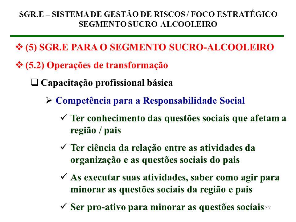 56 (5) SGR.E PARA O SEGMENTO SUCRO-ALCOOLEIRO (5.2) Operações de transformação Capacitação profissional básica Competência técnico-operacional Gestão