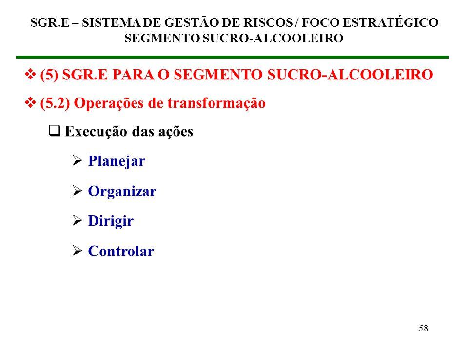 57 (5) SGR.E PARA O SEGMENTO SUCRO-ALCOOLEIRO (5.2) Operações de transformação Capacitação profissional básica Competência para a Responsabilidade Soc