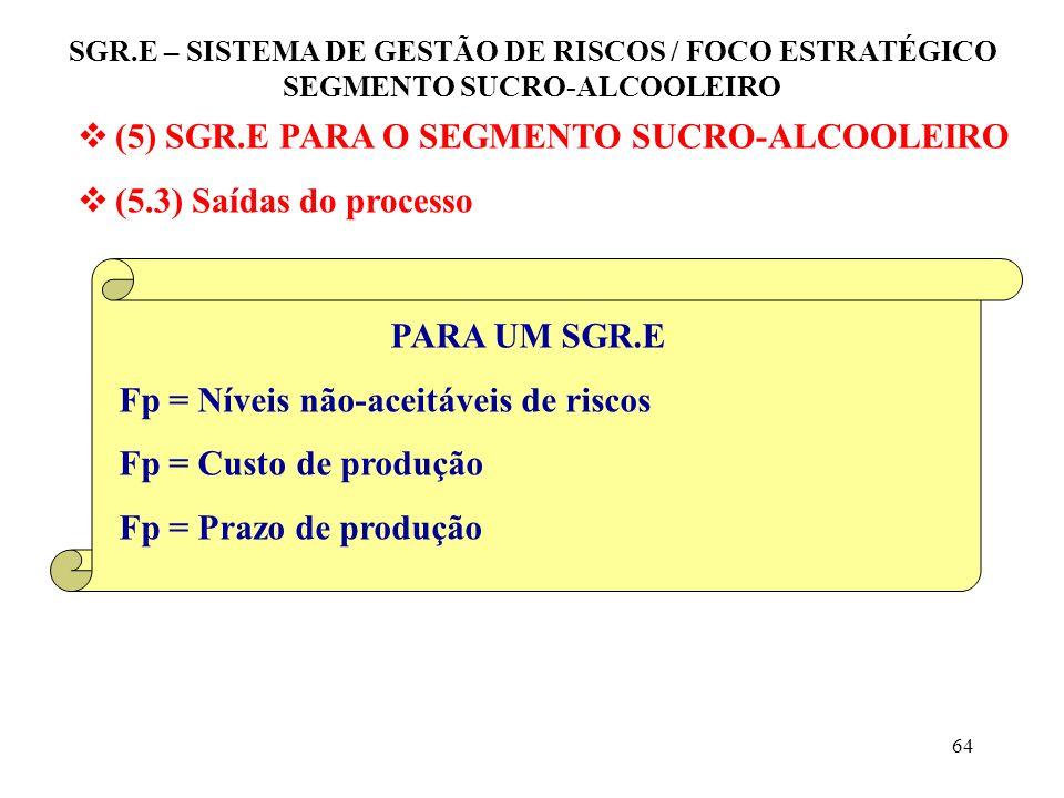 63 (5) SGR.E PARA O SEGMENTO SUCRO-ALCOOLEIRO (5.3) Saídas do processo Produtividade Fp pode ser: Matéria prima Horas-homens trabalhadas, etc. SGR.E –