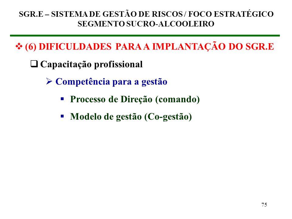 74 (6) DIFICULDADES PARA A IMPLANTAÇÃO DO SGR.E Capacitação profissional Competência técnico-operacional Conhecimento do processo de fabricação Sistem