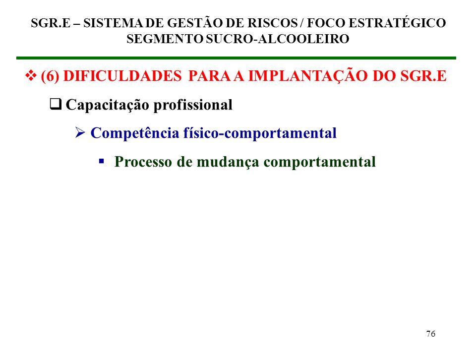 75 (6) DIFICULDADES PARA A IMPLANTAÇÃO DO SGR.E Capacitação profissional Competência para a gestão Processo de Direção (comando) Modelo de gestão (Co-