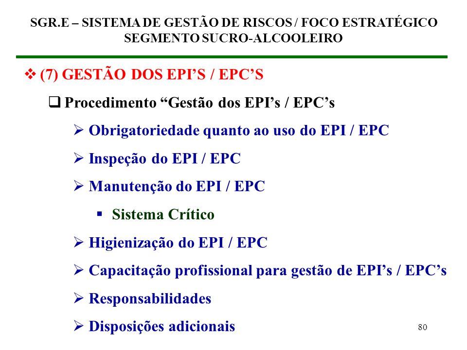 79 (7) GESTÃO DOS EPIS / EPCS Procedimento Gestão dos EPIs / EPCs Base Técn5ca Categorias de EPIs / EPIs quanto ao uso Identificação da necessidade de