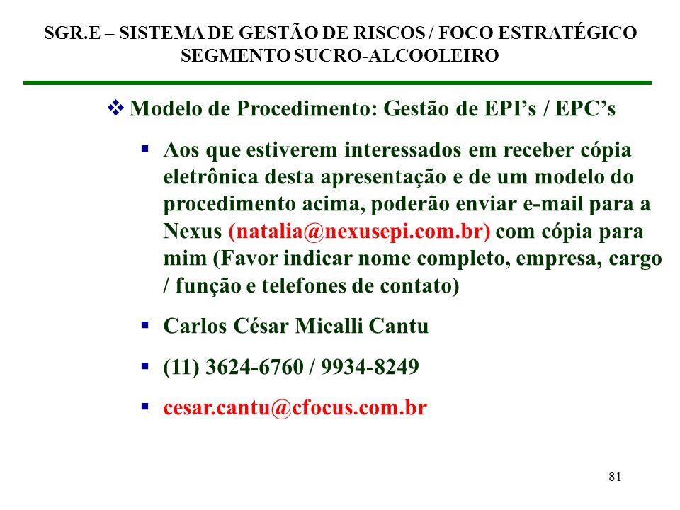 80 (7) GESTÃO DOS EPIS / EPCS Procedimento Gestão dos EPIs / EPCs Obrigatoriedade quanto ao uso do EPI / EPC Inspeção do EPI / EPC Manutenção do EPI /