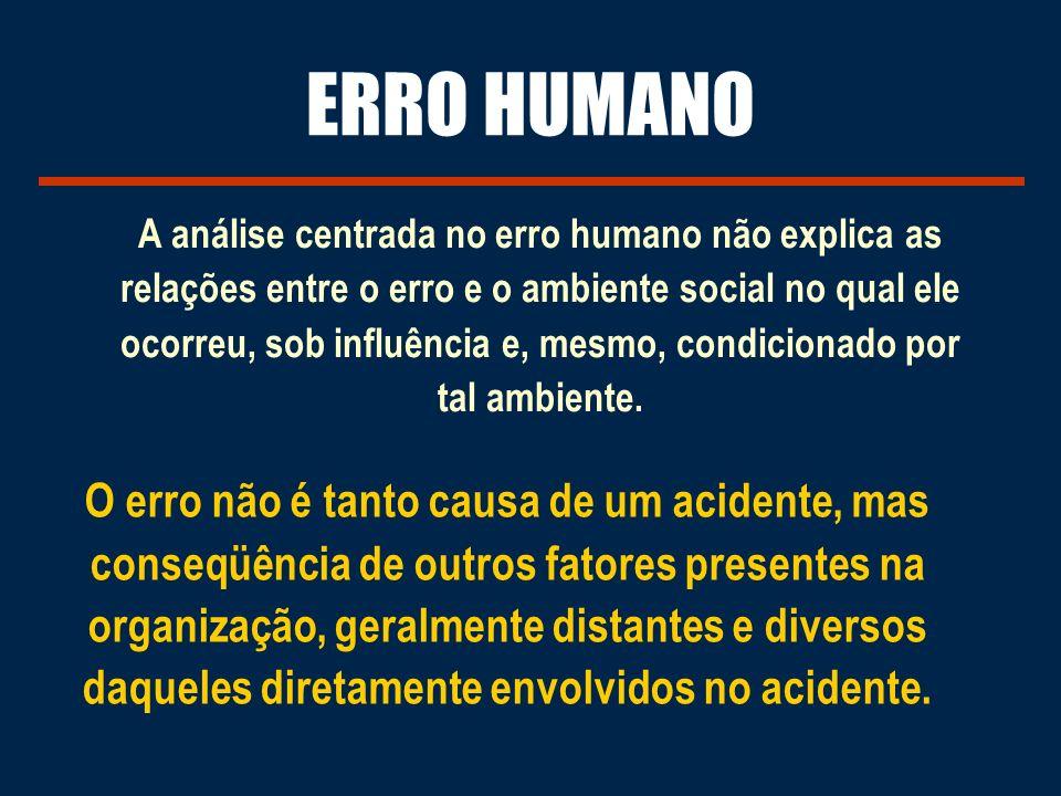 A análise centrada no erro humano não explica as relações entre o erro e o ambiente social no qual ele ocorreu, sob influência e, mesmo, condicionado por tal ambiente.