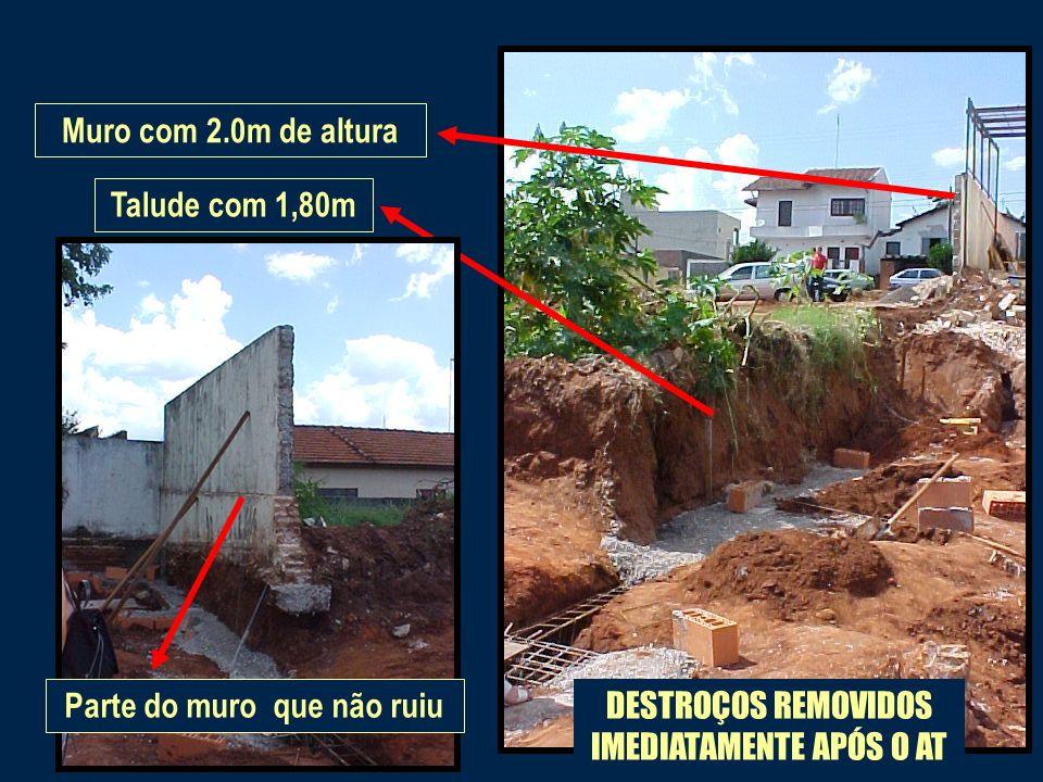 Talude com 1,80mMuro com 2.0m de altura DESTROÇOS REMOVIDOS IMEDIATAMENTE APÓS O AT Parte do muro que não ruiu