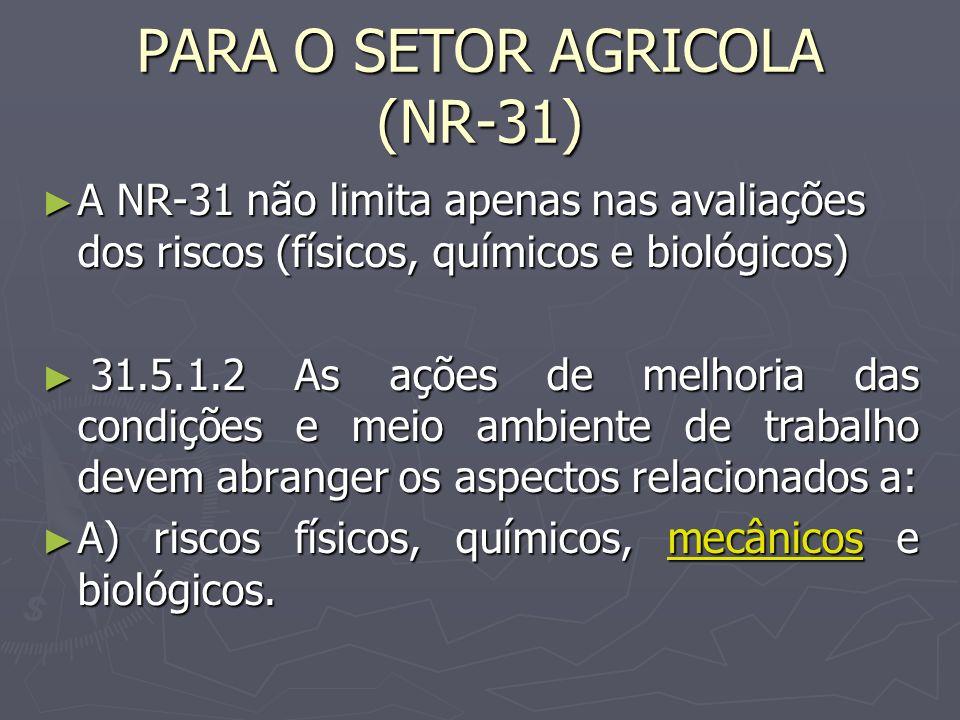 PARA O SETOR AGRICOLA (NR-31) A NR-31 não limita apenas nas avaliações dos riscos (físicos, químicos e biológicos) A NR-31 não limita apenas nas avaliações dos riscos (físicos, químicos e biológicos) 31.5.1.2 As ações de melhoria das condições e meio ambiente de trabalho devem abranger os aspectos relacionados a: 31.5.1.2 As ações de melhoria das condições e meio ambiente de trabalho devem abranger os aspectos relacionados a: A) riscos físicos, químicos, mecânicos e biológicos.