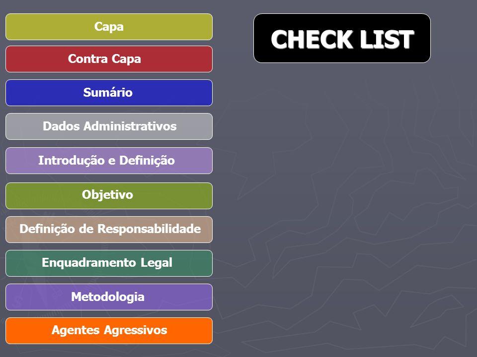 Capa Contra Capa Sumário Dados Administrativos Introdução e Definição Objetivo Definição de Responsabilidade Enquadramento Legal Metodologia Agentes Agressivos CHECK LIST CHECK LIST