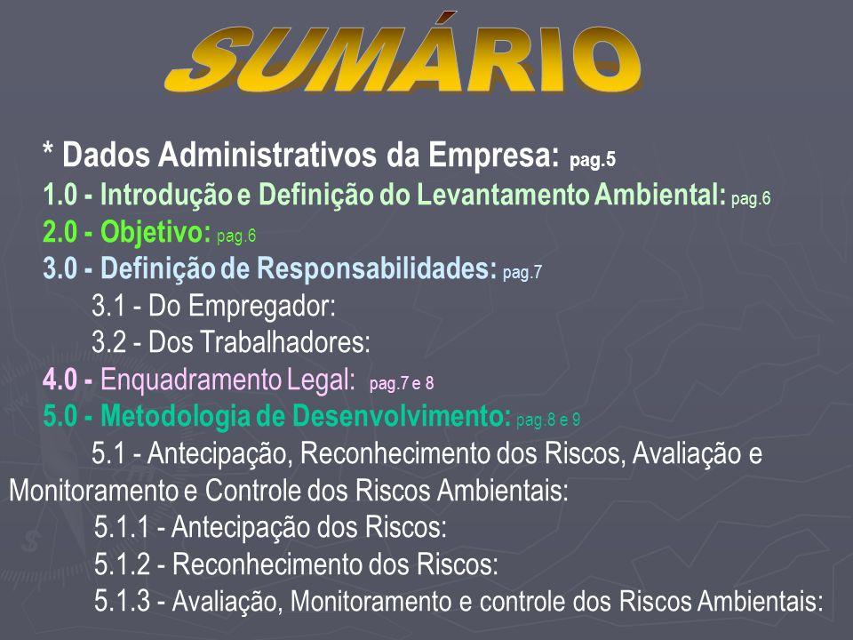 * Dados Administrativos da Empresa: pag.5 1.0 - Introdução e Definição do Levantamento Ambiental: pag.6 2.0 - Objetivo: pag.6 3.0 - Definição de Responsabilidades: pag.7 3.1 - Do Empregador: 3.2 - Dos Trabalhadores: 4.0 - Enquadramento Legal: pag.7 e 8 5.0 - Metodologia de Desenvolvimento: pag.8 e 9 5.1 - Antecipação, Reconhecimento dos Riscos, Avaliação e Monitoramento e Controle dos Riscos Ambientais: 5.1.1 - Antecipação dos Riscos: 5.1.2 - Reconhecimento dos Riscos: 5.1.3 - Avaliação, Monitoramento e controle dos Riscos Ambientais: