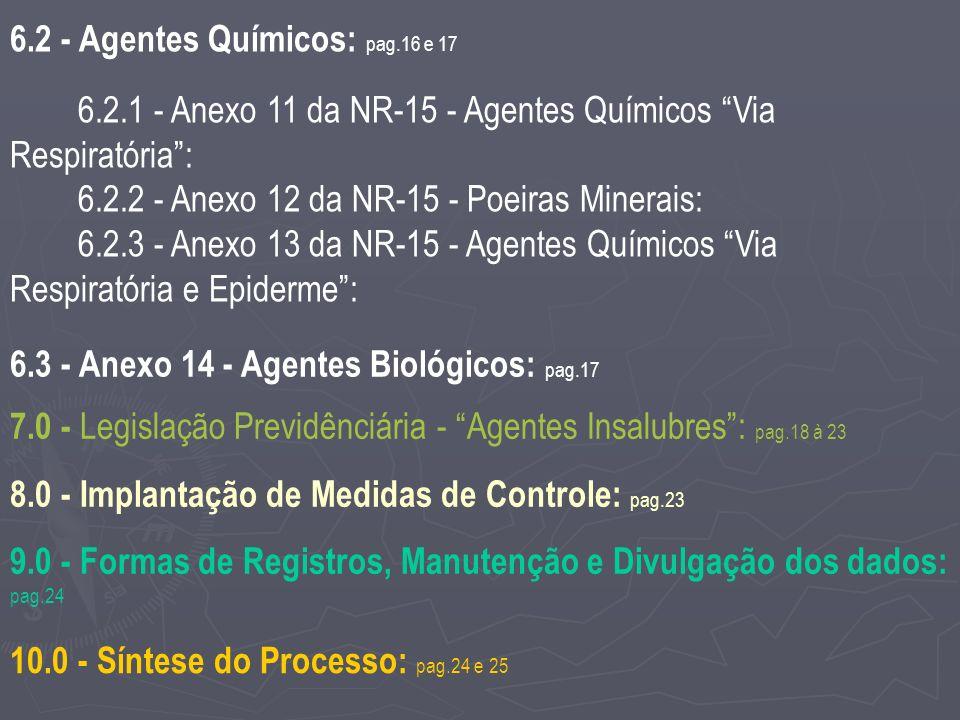 6.2 - Agentes Químicos: pag.16 e 17 6.2.1 - Anexo 11 da NR-15 - Agentes Químicos Via Respiratória: 6.2.2 - Anexo 12 da NR-15 - Poeiras Minerais: 6.2.3 - Anexo 13 da NR-15 - Agentes Químicos Via Respiratória e Epiderme: 6.3 - Anexo 14 - Agentes Biológicos: pag.17 7.0 - Legislação Previdênciária - Agentes Insalubres: pag.18 à 23 8.0 - Implantação de Medidas de Controle: pag.23 9.0 - Formas de Registros, Manutenção e Divulgação dos dados: pag.24 10.0 - Síntese do Processo: pag.24 e 25
