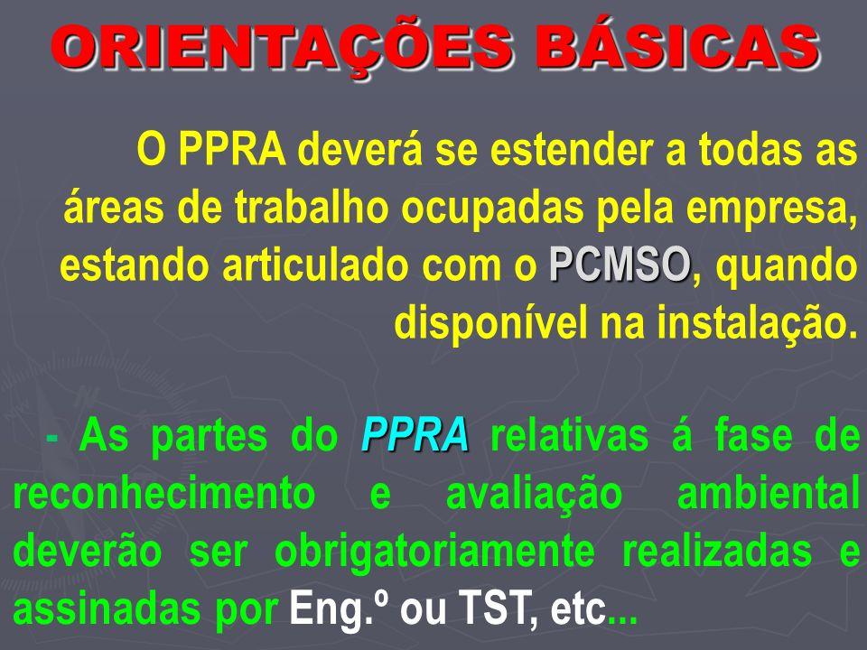 PCMSO O PPRA deverá se estender a todas as áreas de trabalho ocupadas pela empresa, estando articulado com o PCMSO, quando disponível na instalação.