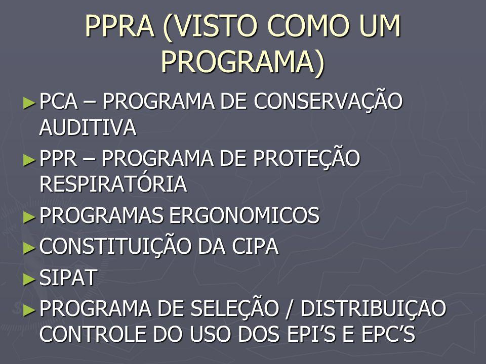 PPRA (VISTO COMO UM PROGRAMA) PCA – PROGRAMA DE CONSERVAÇÃO AUDITIVA PCA – PROGRAMA DE CONSERVAÇÃO AUDITIVA PPR – PROGRAMA DE PROTEÇÃO RESPIRATÓRIA PPR – PROGRAMA DE PROTEÇÃO RESPIRATÓRIA PROGRAMAS ERGONOMICOS PROGRAMAS ERGONOMICOS CONSTITUIÇÃO DA CIPA CONSTITUIÇÃO DA CIPA SIPAT SIPAT PROGRAMA DE SELEÇÃO / DISTRIBUIÇAO CONTROLE DO USO DOS EPIS E EPCS PROGRAMA DE SELEÇÃO / DISTRIBUIÇAO CONTROLE DO USO DOS EPIS E EPCS