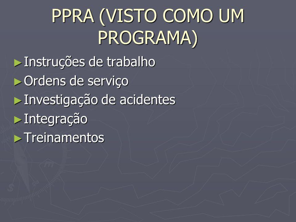 PPRA (VISTO COMO UM PROGRAMA) Instruções de trabalho Instruções de trabalho Ordens de serviço Ordens de serviço Investigação de acidentes Investigação de acidentes Integração Integração Treinamentos Treinamentos