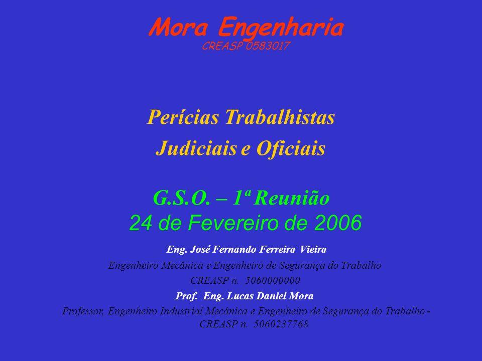 Eng. José Fernando Ferreira Vieira Engenheiro Mecânica e Engenheiro de Segurança do Trabalho CREASP n. 5060000000 Perícias Trabalhistas Judiciais e Of