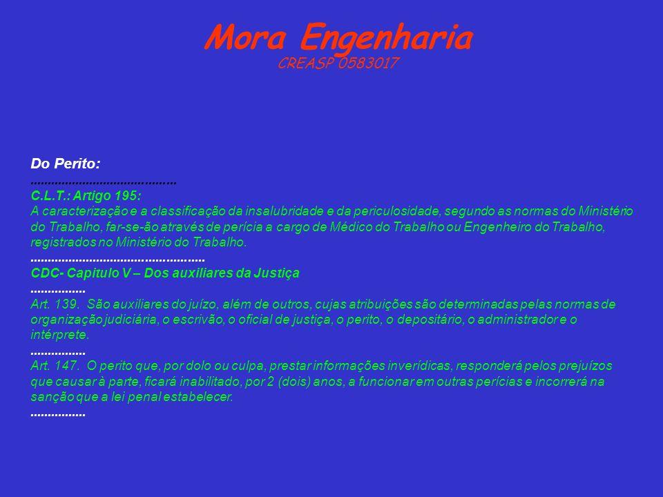 Mora Engenharia CREASP 0583017 Do Perito:.......................................... C.L.T.: Artigo 195: A caracterização e a classificação da insalubr