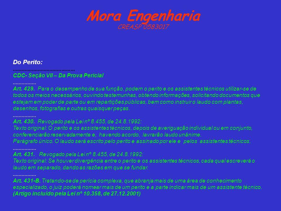Mora Engenharia CREASP 0583017 Do Perito:.......................................... CDC- Seção VII – Da Prova Pericial................ Art. 429. Para