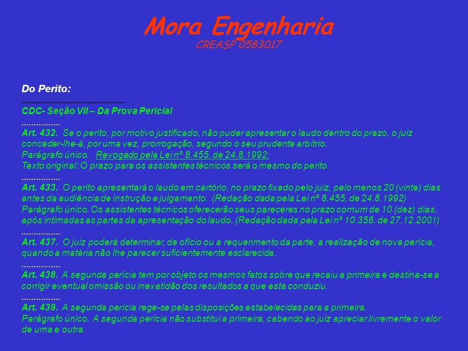 Mora Engenharia CREASP 0583017 Do Perito:.......................................... CDC- Seção VII – Da Prova Pericial................ Art. 432. Se o