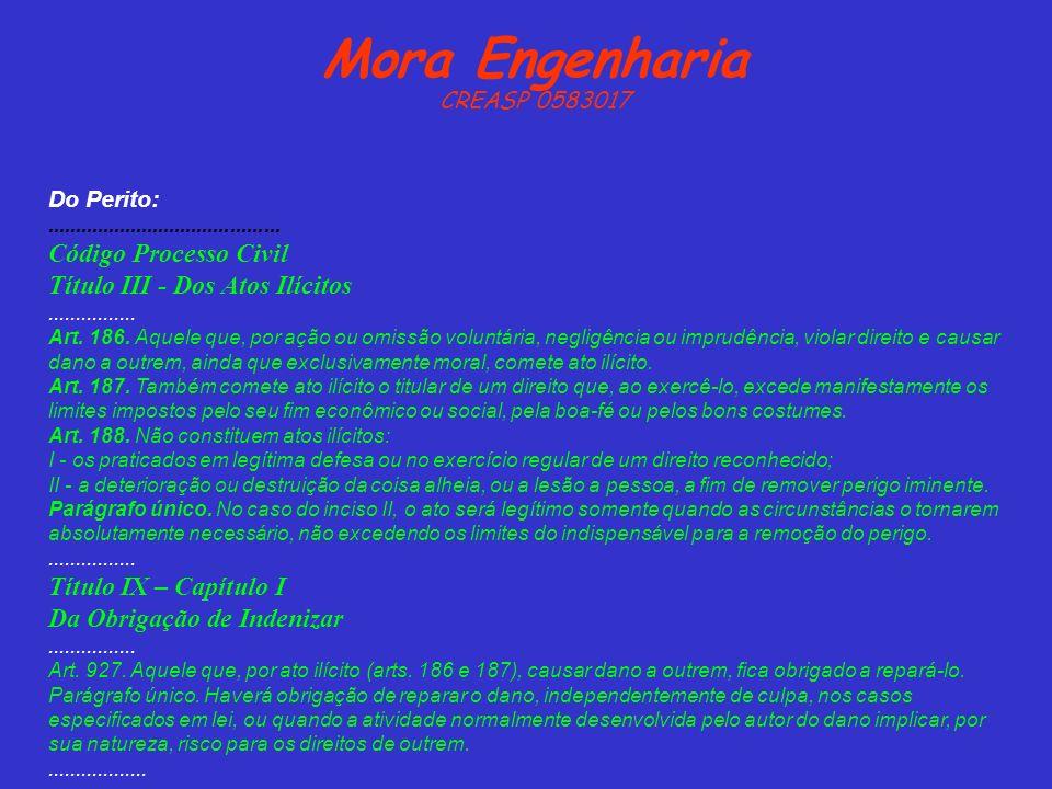 Mora Engenharia CREASP 0583017 Do Perito:.......................................... Código Processo Civil Título III - Dos Atos Ilícitos..............