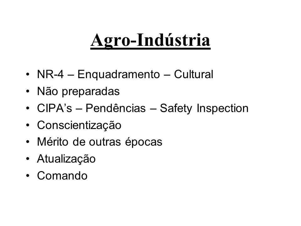 Agro-Indústria NR-4 – Enquadramento – Cultural Não preparadas CIPAs – Pendências – Safety Inspection Conscientização Mérito de outras épocas Atualizaç