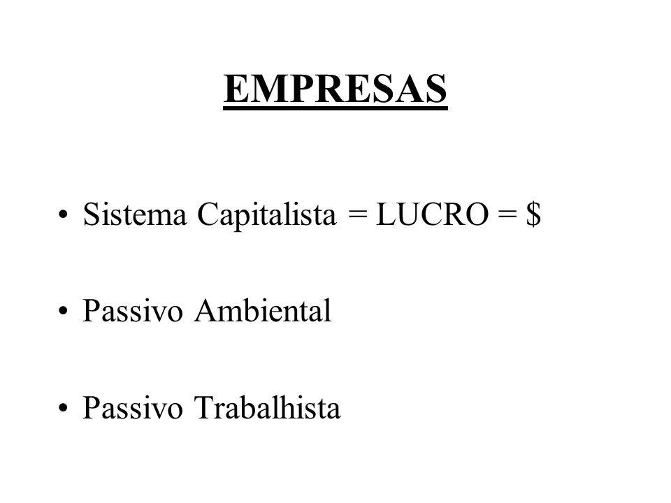 EMPRESAS Sistema Capitalista = LUCRO = $ Passivo Ambiental Passivo Trabalhista