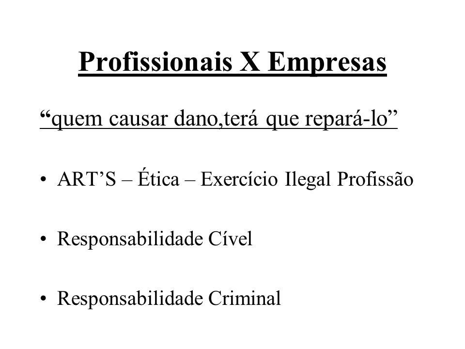 Profissionais X Empresas quem causar dano,terá que repará-lo ARTS – Ética – Exercício Ilegal Profissão Responsabilidade Cível Responsabilidade Crimina